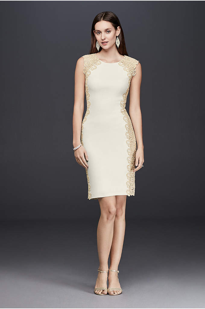 Lace Panel Cap Sleeve Jersey Sheath Dress - Trimmed with gold guipure lace, this stretch-jersey sheath