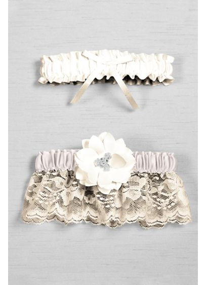 White (DB Exclusive Floral Lace Bridal Garter Set)