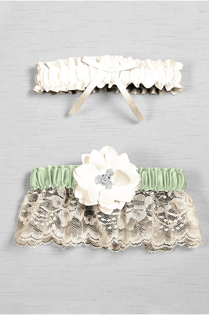 DB Exclusive Floral Lace Bridal Garter Set - Trimmed with delicate lace, this garter set has