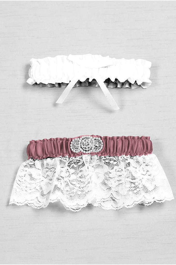 DB Exclusive Pearl Lace Bridal Garter Set - Trimmed with delicate lace, this garter set has