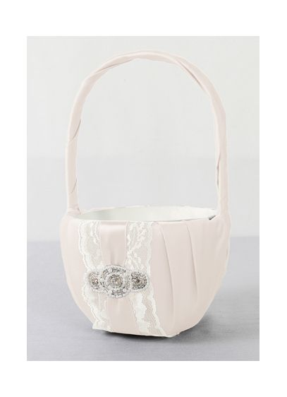 DB Exclusive Pearl Lace Flower Girl Basket - Wedding Gifts & Decorations