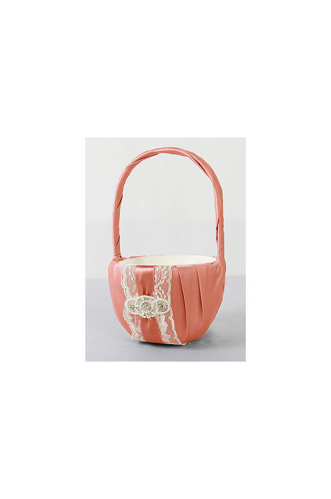 DB Exclusive Pearl Lace Flower Girl Basket - Trimmed with delicate lace and layered with a