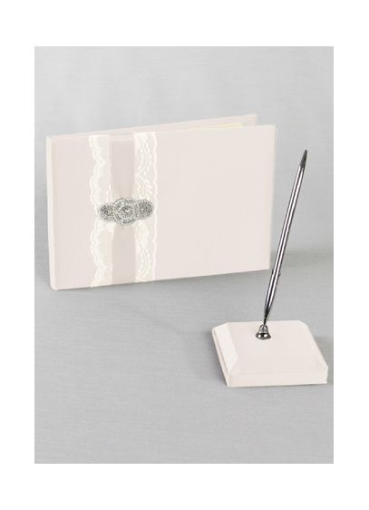 DB Exclusive Pearl Lace Guest Book and Pen - Wedding Gifts & Decorations