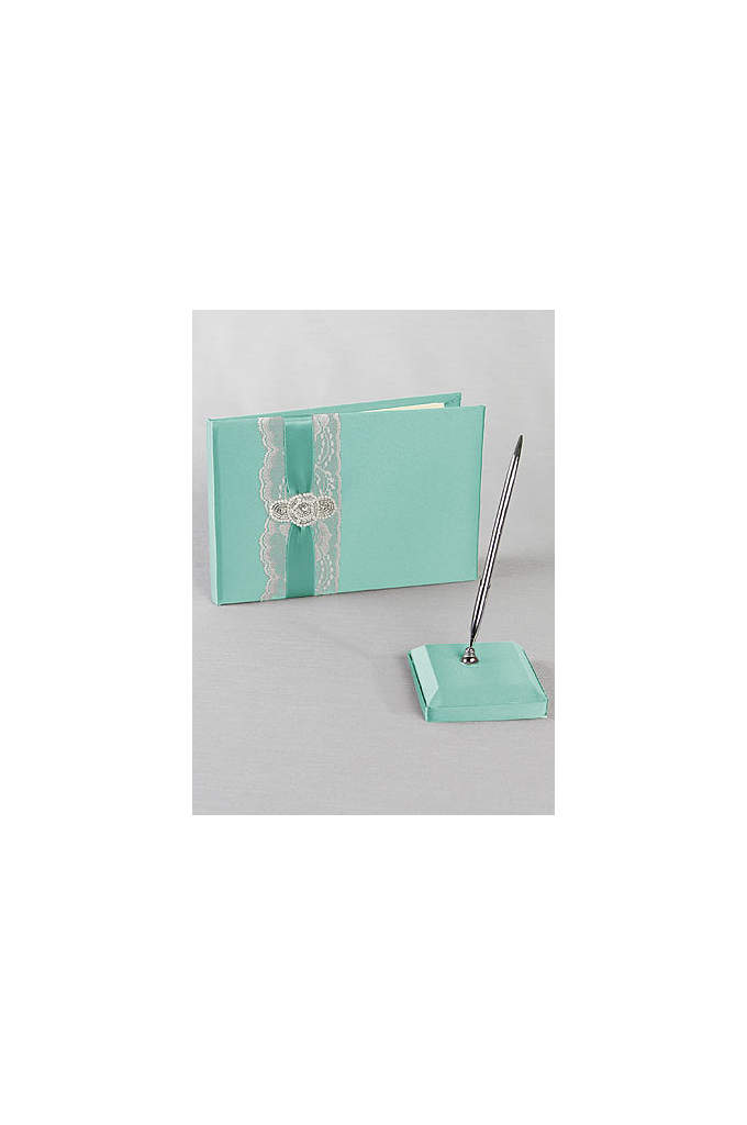DB Exclusive Pearl Lace Guest Book and Pen - Trimmed with delicate lace and layered with satin