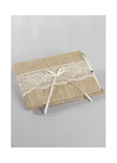 DB Exclusive Burlap and Lace Guest Book and Pen DB87GBP