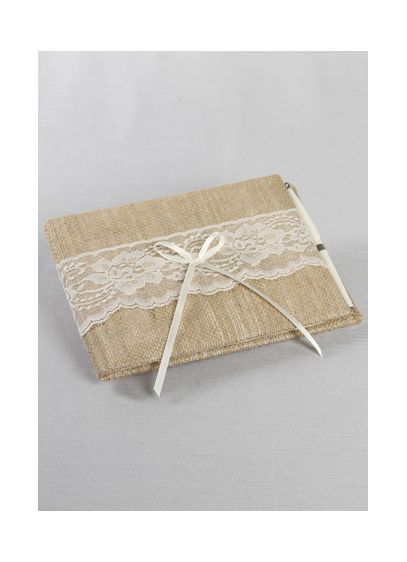Ivory (DB Exclusive Burlap and Lace Guest Book and Pen)