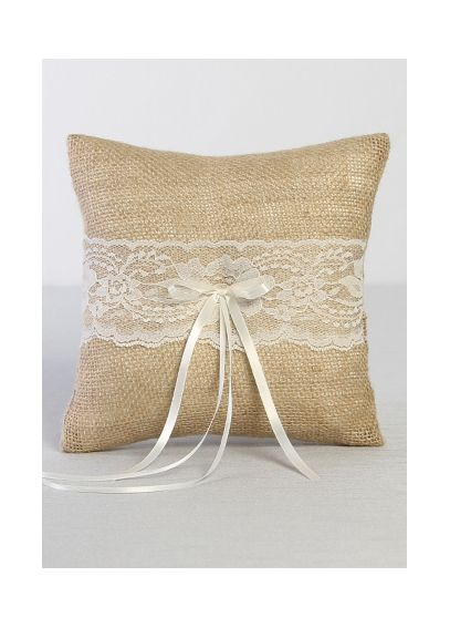DB Exclusive Burlap and Lace Ring Bearer Pillow DB87RP