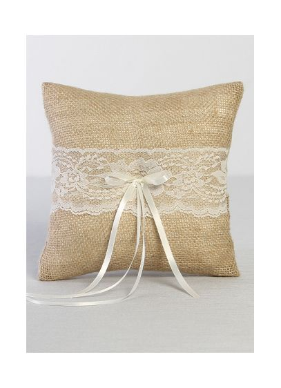 Ivory (DB Exclusive Burlap and Lace Ring Bearer Pillow)