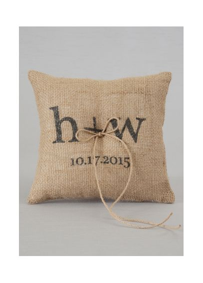 Personalized Printed Burlap Ring Bearer Pillow DB88RP