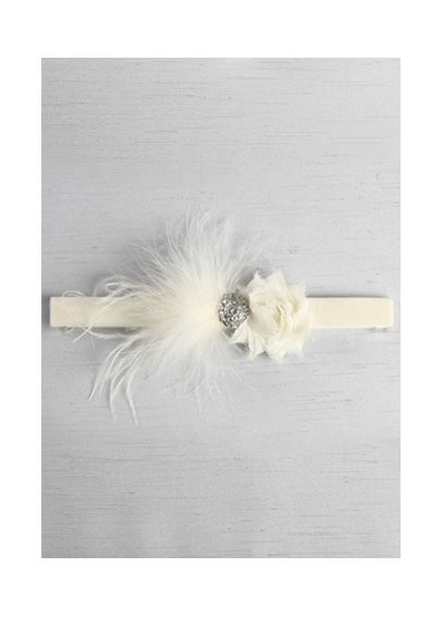 Velvet Elastic Garter with Feathers and  Brooch DB91528
