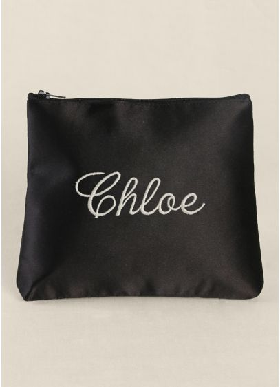 Personalized Embroidered Satin Cosmetic Bag - Wedding Gifts & Decorations