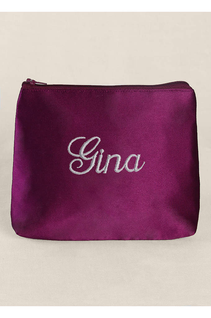 Personalized Embroidered Satin Cosmetic Bag - Personalize this gorgeous satin cosmetic bag with your