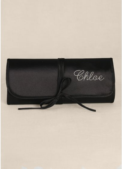 Black (Personalized Embroidered Satin Jewelry Roll)