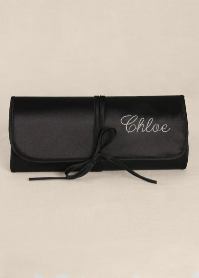 Personalized Embroidered Satin Jewelry Roll DB91681