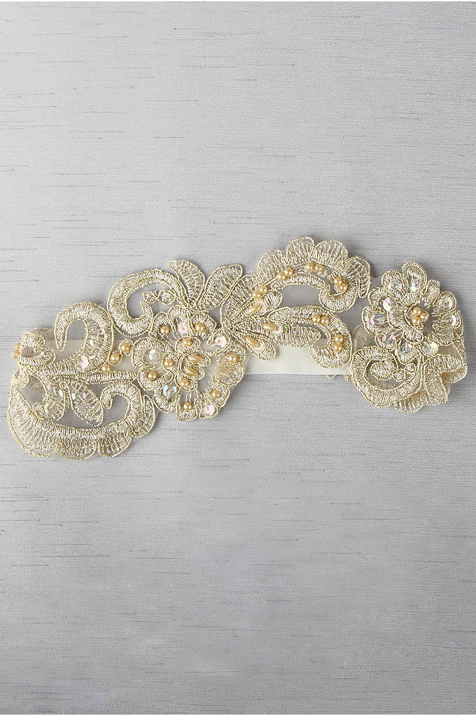 Ella Applique Garter With Gold and Ivory Details - Add intricate detail to your wedding ensemble with