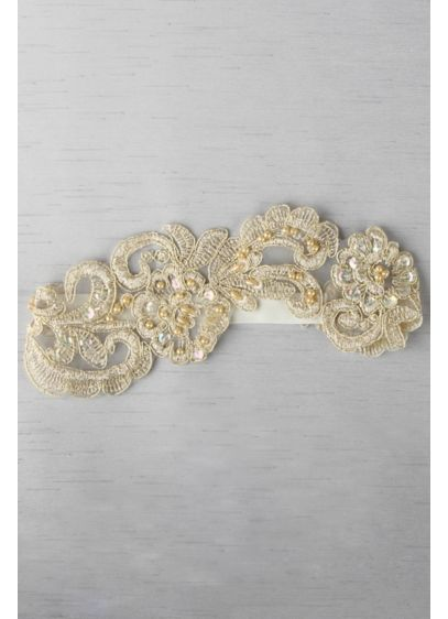 (Ella Applique Garter With Gold and Ivory Details)