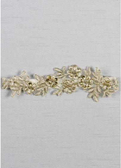 (Cora Applique Garter With Gold Thread and Beads)