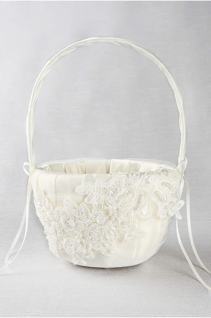 Sea of Petals Flower Girl Basket - This elegant ivory flower girl basket is a