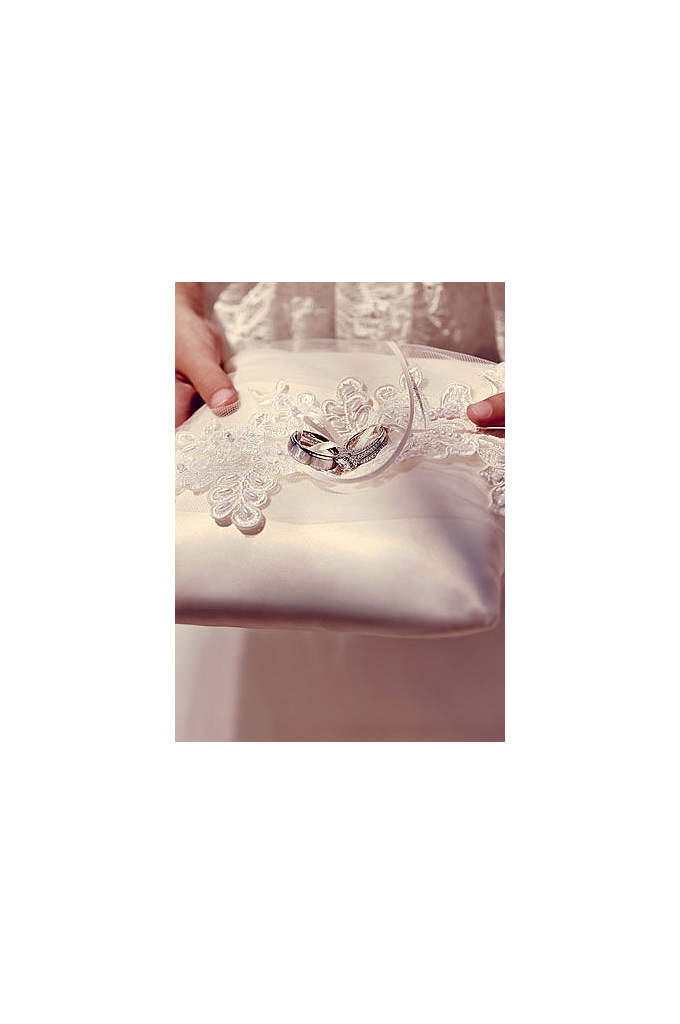 Sea of Petals Ring Bearer Pillow - This elegant ivory ring bearer pillow is a