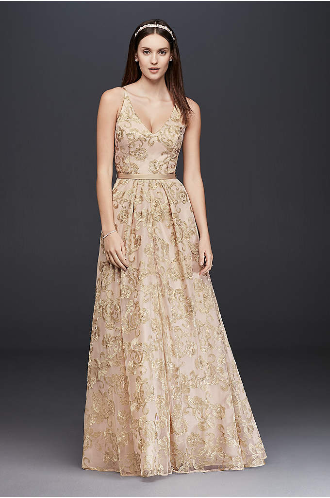 Embroidered Mesh A-Line Dress with Full Skirt - A romantic occasion dress for weddings and other