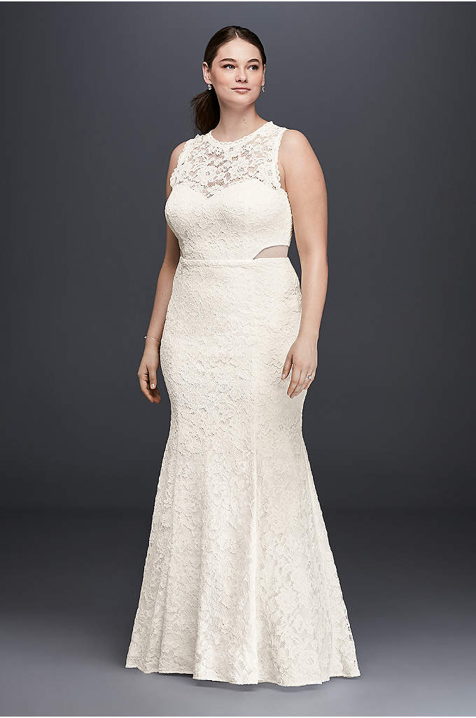 Lace Trumpet Plus Size Wedding Dress with Illusion - Small illusion side cutouts and scalloped trim at