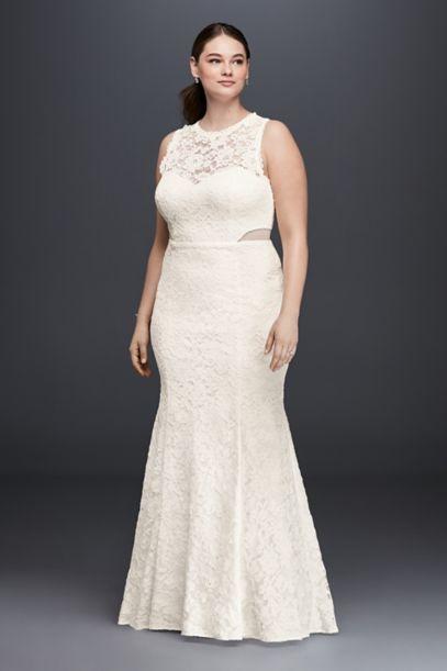 lace trumpet plus size wedding dress with illusion   david's bridal