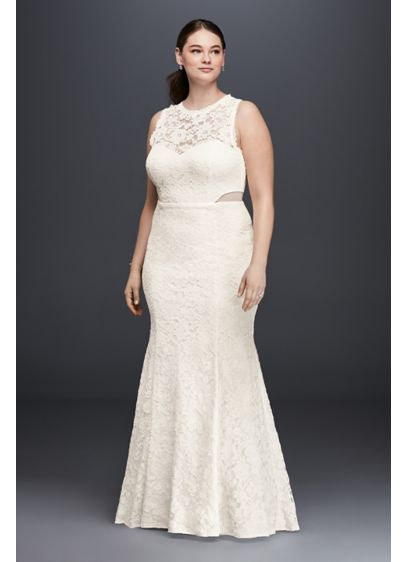 Lace trumpet plus size wedding dress with illusion david for Plus size illusion wedding dress