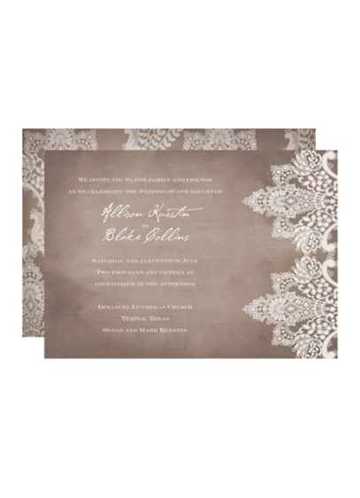 Vintage Lace Invitation Sample - Wedding Gifts & Decorations