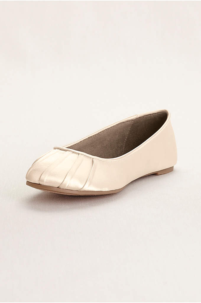 Pleated Toe Dyeable Satin Ballet Flat - Dyeable pleated toe ballet flats are elegantly simple