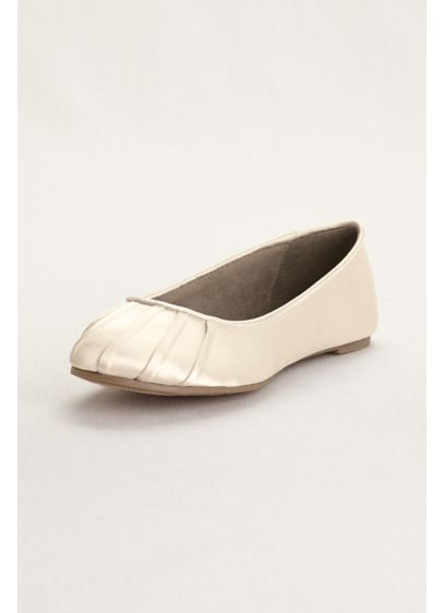 David's Bridal Ivory (Pleated Toe Dyeable Satin Ballet Flat)