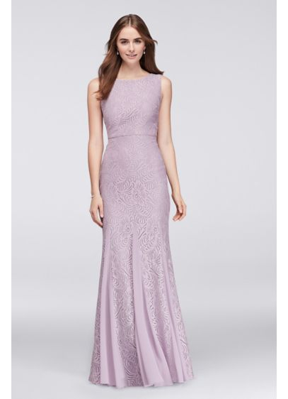 Stretch lace bridesmaid dress with godet skirt david39s for Stretch lace wedding dress