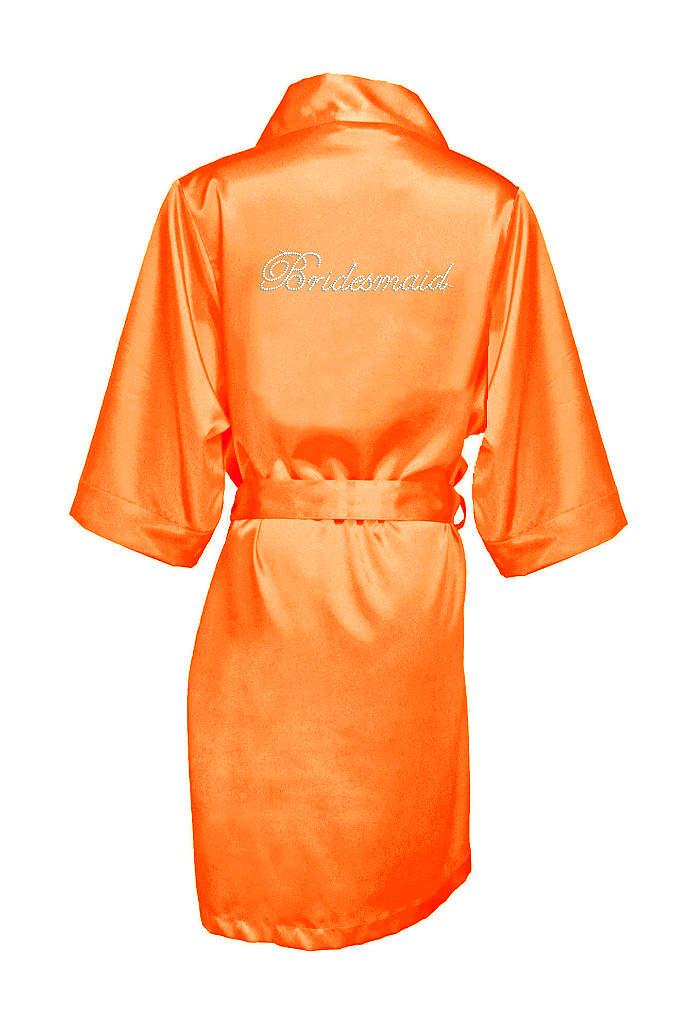 Rhinestone Bridesmaid Satin Robe - Luxurious satin robe with