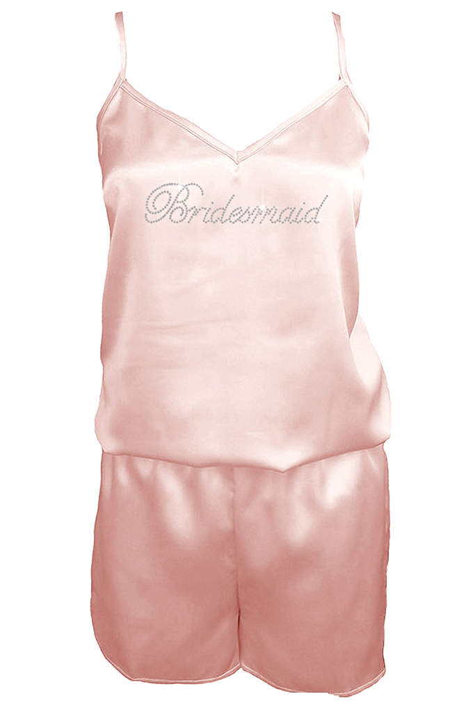 Rhinestone Bridesmaid Satin Romper - Your bridesmaids will love getting pictures in their