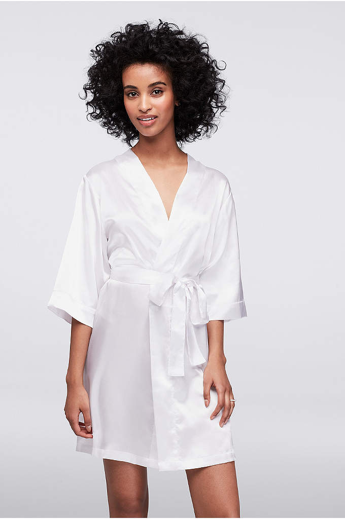 DB Exclusive Double Rhinestone Bride Satin Robe - These stunning and silky soft satin robes are