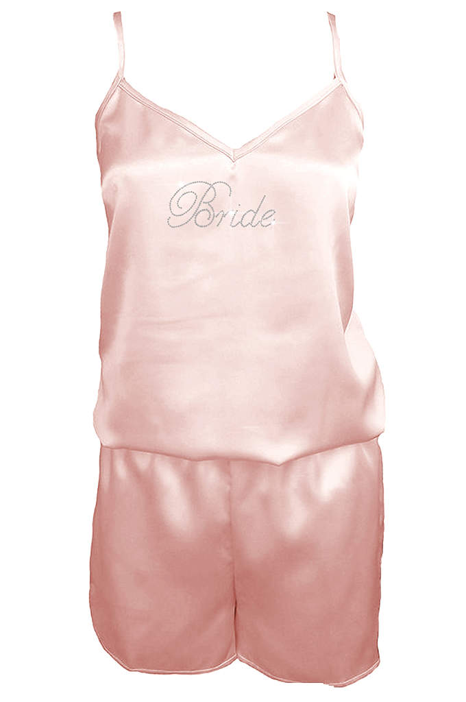 Rhinestone Bride Satin Romper - The radiant bride will love wearing this gorgeous