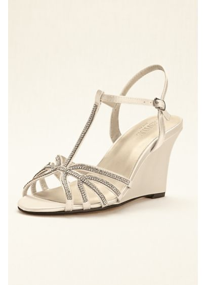 David's Bridal (Crystal T-Strap Satin Dyeable Wedge)