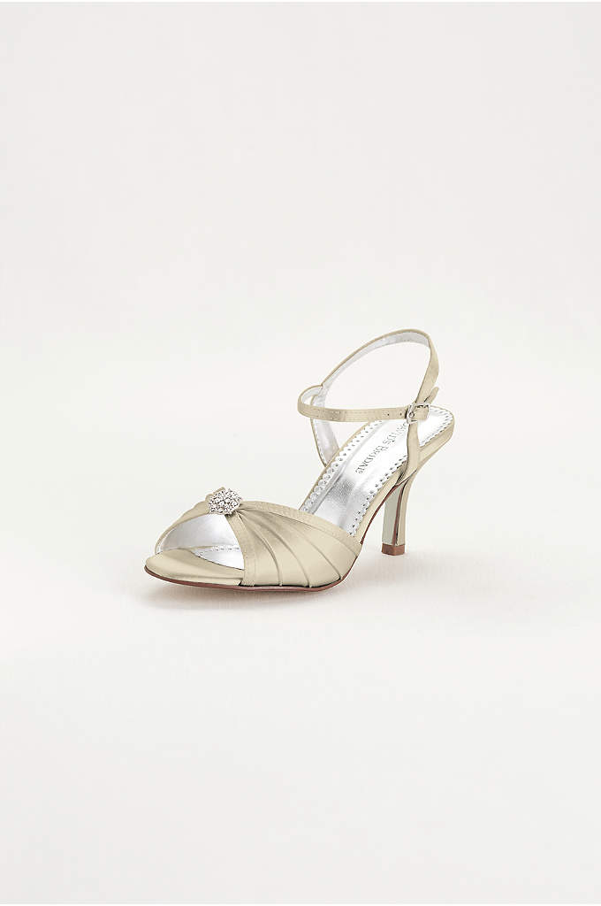 Satin Dyeable Pleated Sandal with Ornament - Dyeable shoe features pleated vamp with crystal ornament