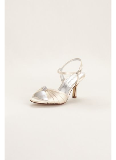 David's Bridal (Satin Dyeable Pleated Sandal with Ornament)