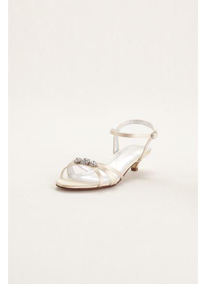 David's Bridal (Dyeable Satin Low Heel Sandal with Rhinestones)