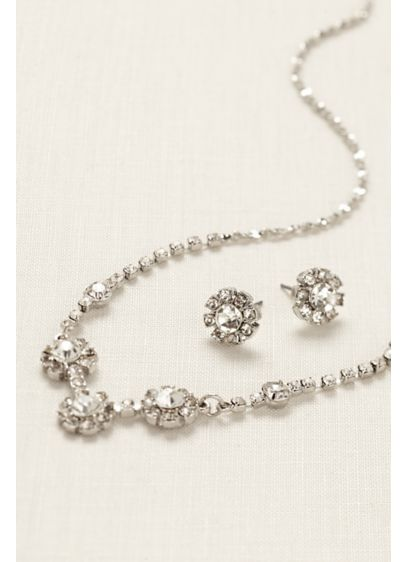 FG Rhinestone Flower Necklace and Earring Set - Wedding Accessories
