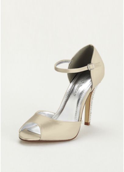 David's Bridal Ivory (Dyeable Sandal with Crystal Encrusted Heel)