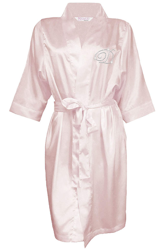 Personalized Rhinestone Initial Satin Robe - All the women in your bridal party will