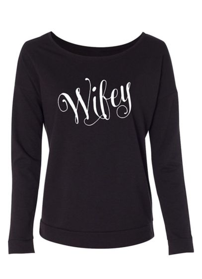 Fanciful Script Wifey French Terry Scoop Neck - Wedding Gifts & Decorations