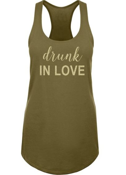 Glitter Print Drunk in Love Racerback Tank Top - Wedding Gifts & Decorations