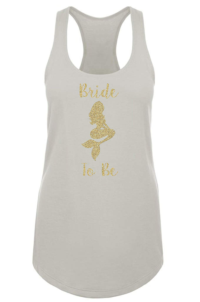 Mermaid Bride Gold Glitter Racerback Tank Top - Have oceans of fun in our beautiful mermaid
