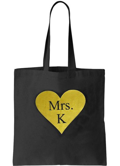 Personalized Matte Metallic Heart Mrs Tote Bag - Wedding Gifts & Decorations