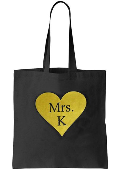 Personalized Matte Metallic Heart Mrs Tote Bag DBK-METHRTTOTE