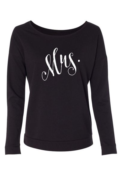 Fanciful Script Mrs French Terry Scoop Neck DBK-PS5-MRS