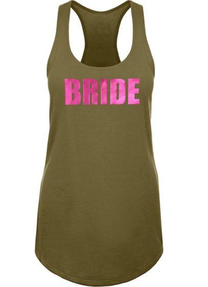 Metallic Print Bride Racerback Tank Top - Wedding Gifts & Decorations