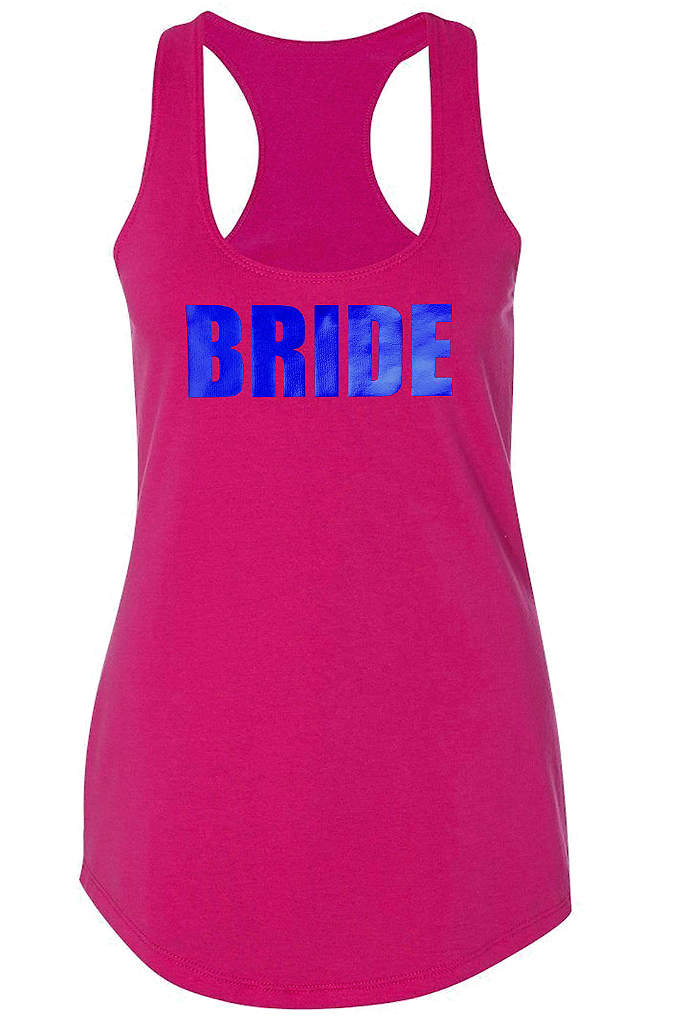 Metallic Print Bride Racerback Tank Top - You're all set for an outing with your